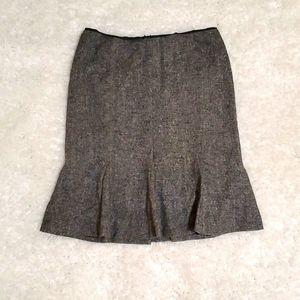 BHWM Wool silk blend gray flare fitted skirt 4
